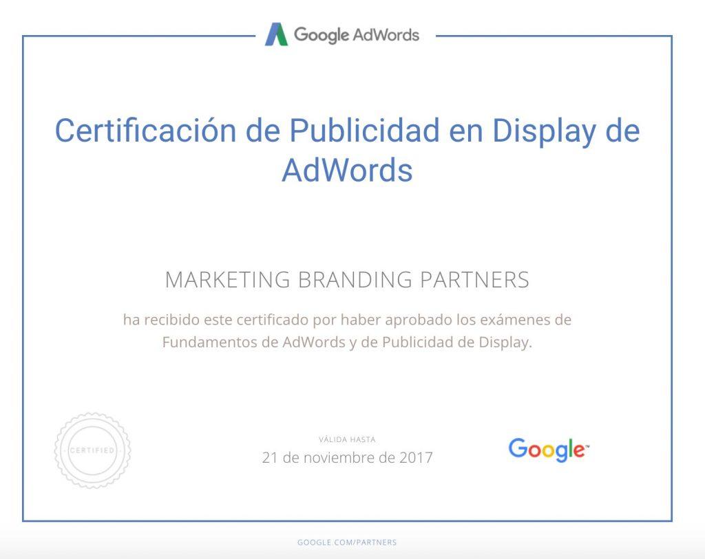 certificado google adwords, certificado publicidad en display de adwords