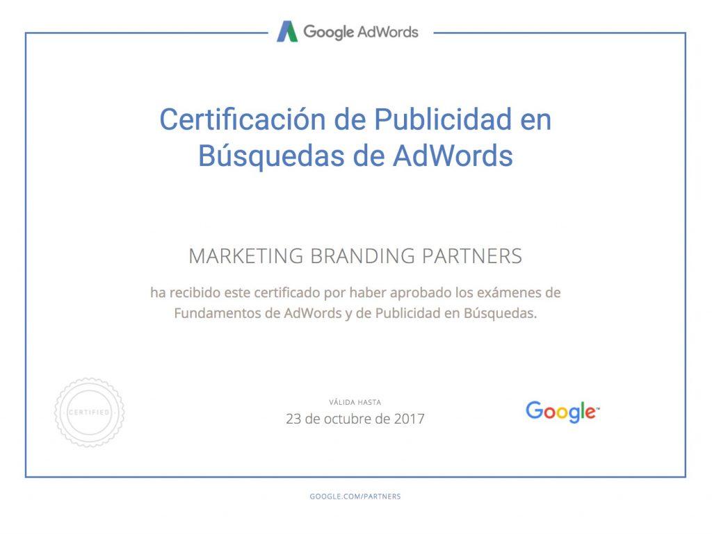 certificado google adwords, certificado publicidad en busquedas de adwords