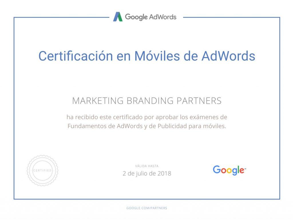 certificado google adwords, certificado en moviles de adwords