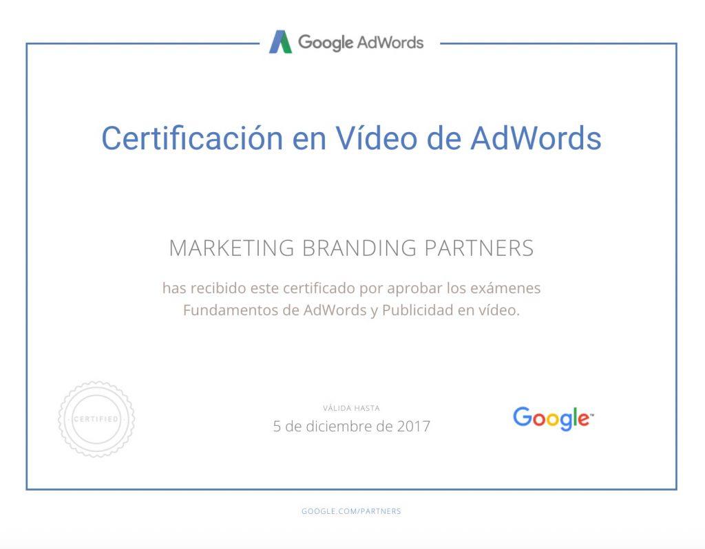 certificado google adwords, certificado en video de adwords